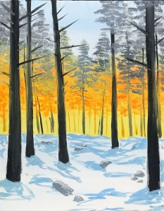 Snowy Forest | The Loaded Brush Paint & Sip Classes | loadedbrushpdx.com