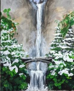 Frosted (Multnomah) Falls | The Loaded Brush - Paint & Sip Classes | www.loadedbrushpdx.com