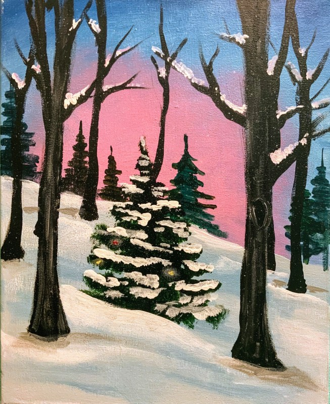 Festive Forest | The Loaded Brush Paint & Sip Classes | loadedbrushpdx.com
