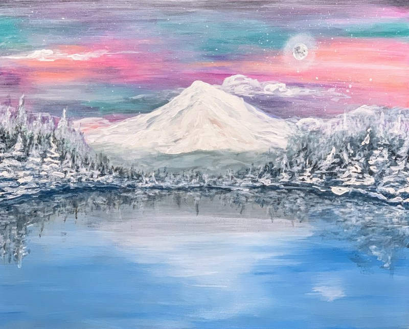 Trillium Lake Special Winter Edition | The Loaded Brush Paint & Sip Classes | loadedbrushpdx.com