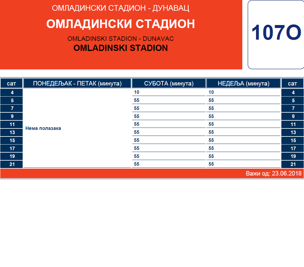 Letnji red vožnje linije 107 Dunavac – Padinska Skela