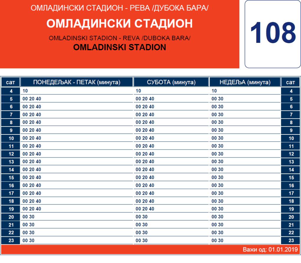 Zimski red vožnje linije 108 Reva – Omladinski stadion