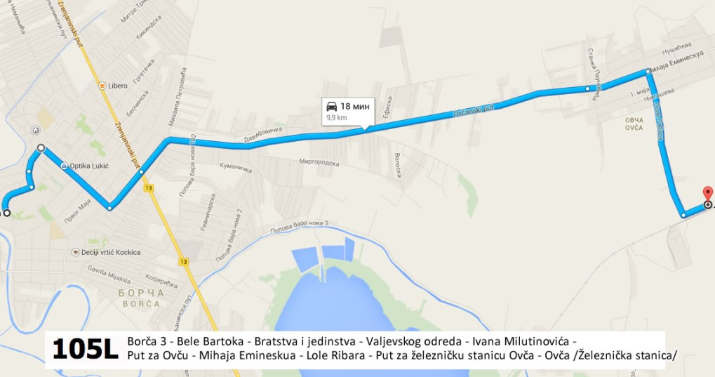 Nova autobuska linija 105 L - Borča 3 - Ovča