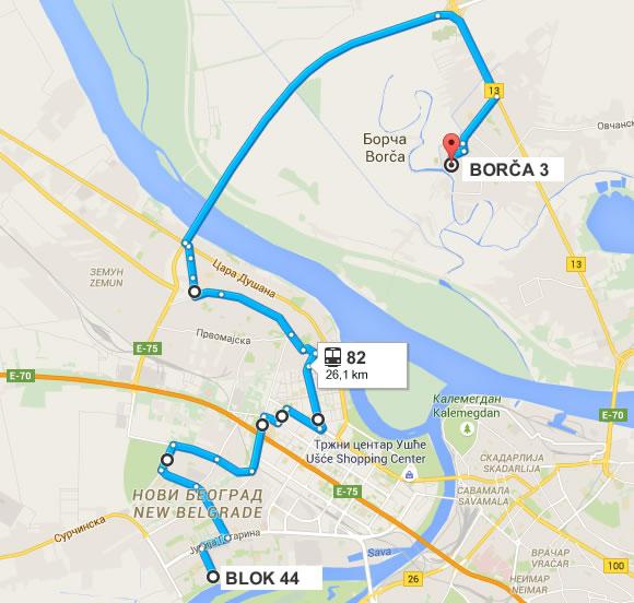 Trasa nove linije 82 - Borča - Blok 44 (Novi Beograd) - 2016