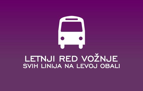 Letnji red vožnje gradskog prevoza svih linija na levoj obali - 2015