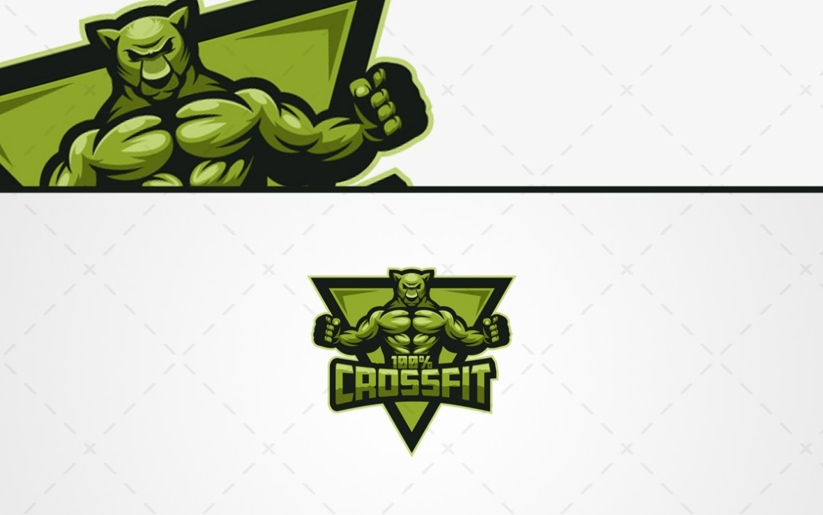 crossfit fitness panther mascot logo