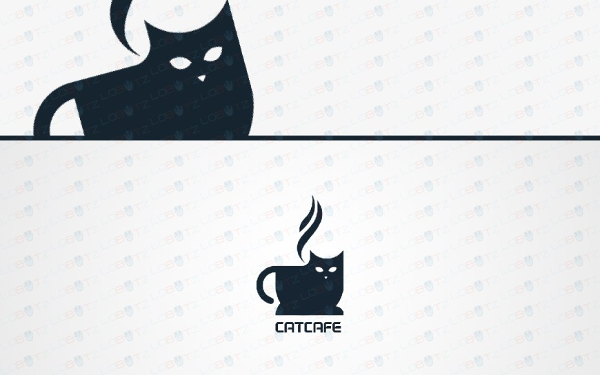 cat cafe logo cat coffee logo for sale
