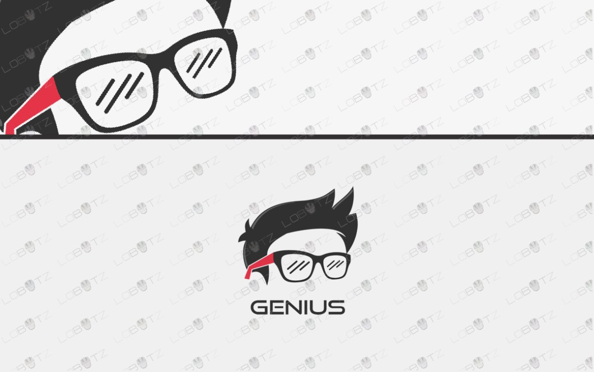 premade genius logo for sale nerd logo