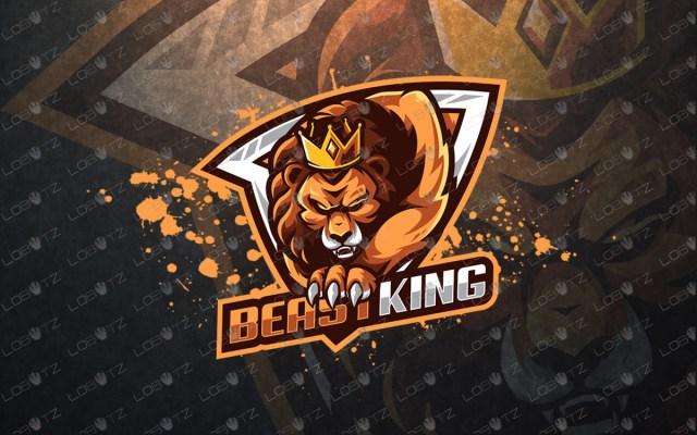 King lion mascot logo lion esports logo premade logo