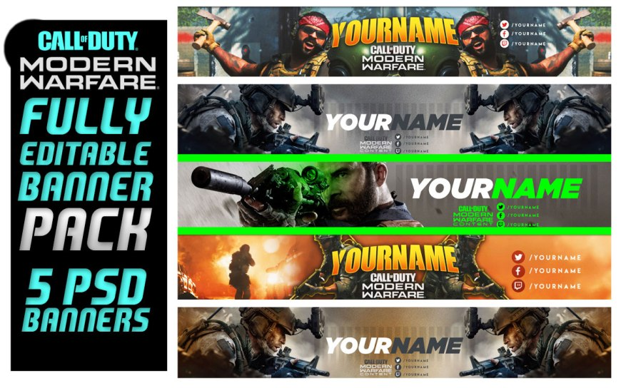 Call of Duty Modern Warfare Banner Pack Fully Editable PSD Banners