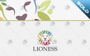 floral lioness logo lioness flower logo