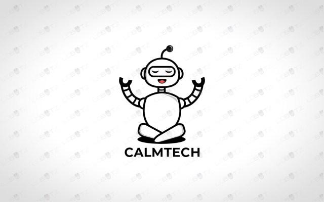 Calm Robot Logo For Sale Robot Yoga Logo
