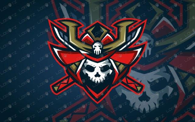 Samurai Mascot Logo For Sale | Skull Samurai eSports Logo