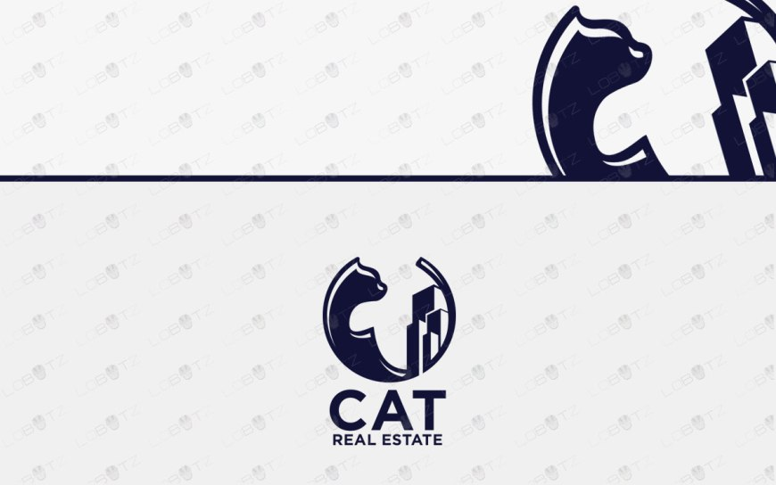 Cat Real Estate Logo For Sale | Minimalist Cat Logo