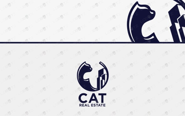 Cat Real Estate Logo For Sale | Minimalist Cat Logo