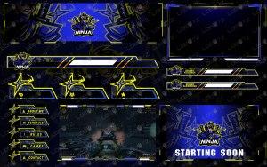Premium Ninja Twitch Overlay Stream Package With Unique Ninja Logo
