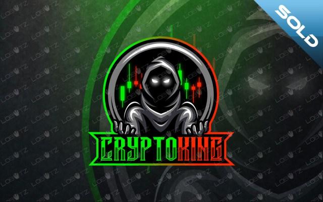 crypto mascot logo crypto esports logo premade logos king logo hooded mascot logo