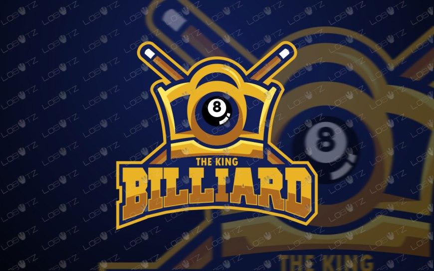 King Billiard Logo For Sale | Pool Mascot logo