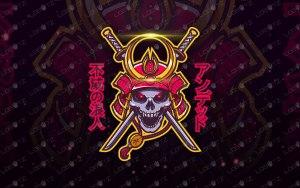Samurai Mascot Logo   Samurai Skull Mascot Logo For Sale