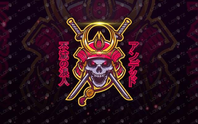 Samurai Mascot Logo | Samurai Skull Mascot Logo For Sale