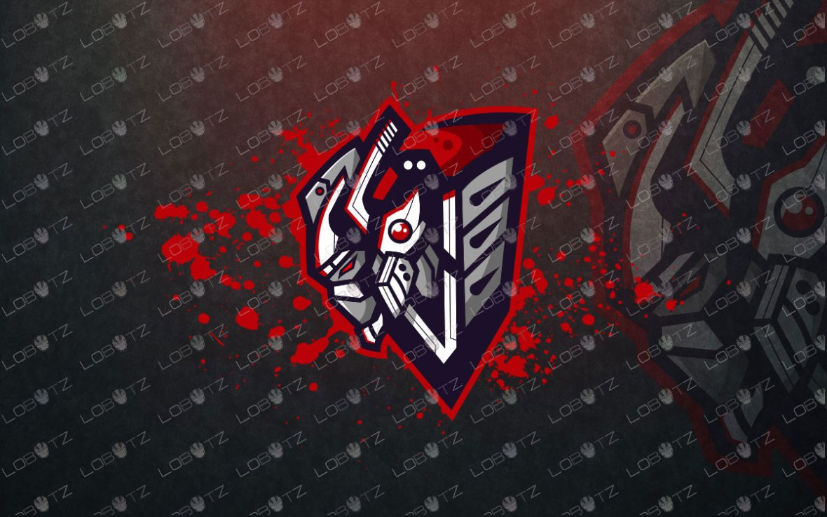 Premade Robot Assassin Mascot Logo For Sale   Robot Mascot Logo