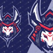 Kitsune Samurai Mascot Logo For Sale   Premade Fox Mascot Logo