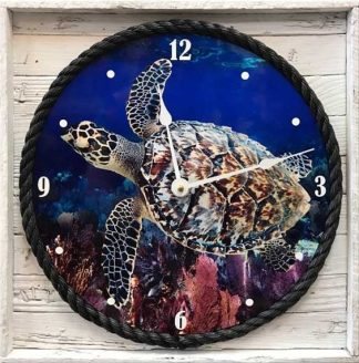 Clock with Hawksbill Turtle framed in lobster trap wood in white wash finish