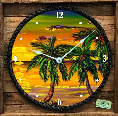"""SUMMER SUNSET"" FRAMED CLOCK"