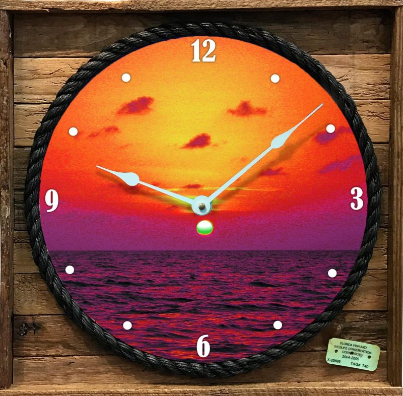 """FLORIDA BAY SUNSET"" FRAMED CLOCK"
