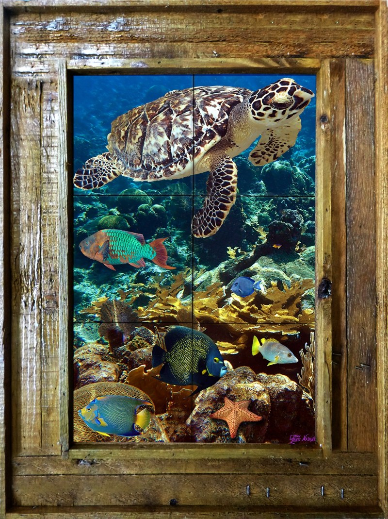 Hawksbill on the Reef Tile Mural