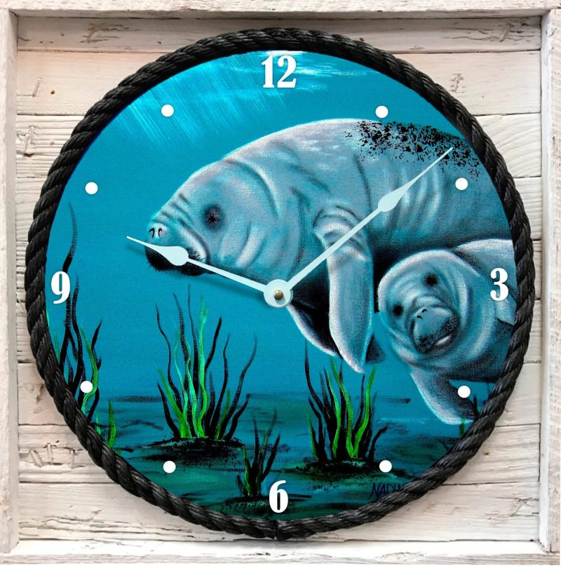 Momma Manatee Clock in Lobster Trap Frame