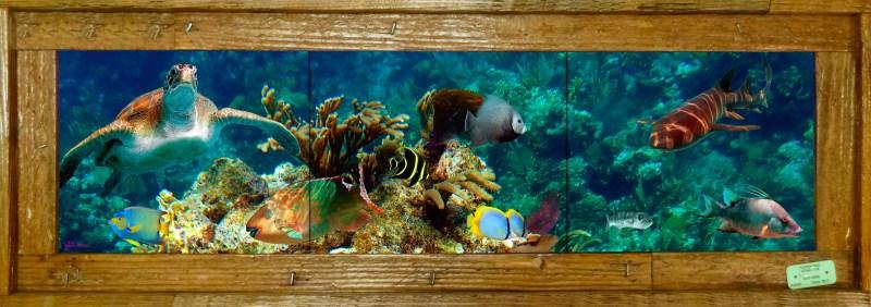 "8""x 30"" Tile Mural in Single Slat Lobster Trap Frames $195"