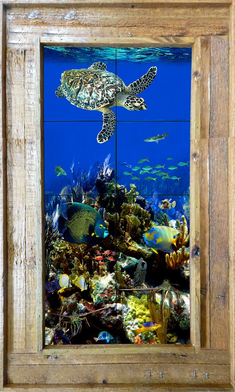"""12""""x24"""" Tile Mural in Our Double Slat Lobster Trap Frame $295"""