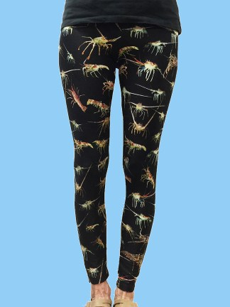 ladies leggings with black background and numerous lobster photos