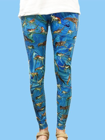 unique women's leggings with an ocean swirl background with numerous lobster photos