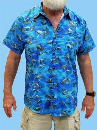 Men's blue dress shirts with Tarpon Bonefish and Permit
