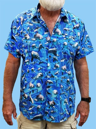 Men's dress shirt with many pictures of Dolphin with an blue ocean swirl background