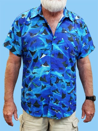 Men's dress shirt with many different Eagle Rays pictured on a blue ocean background