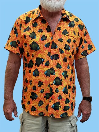 Men's dress shirt with many french angelfish all over the shirt on an orange swirl background