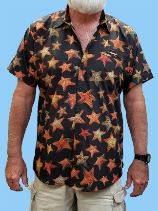 Men's dress shirt with many different pictures of starfish over the entire shirt on a black background