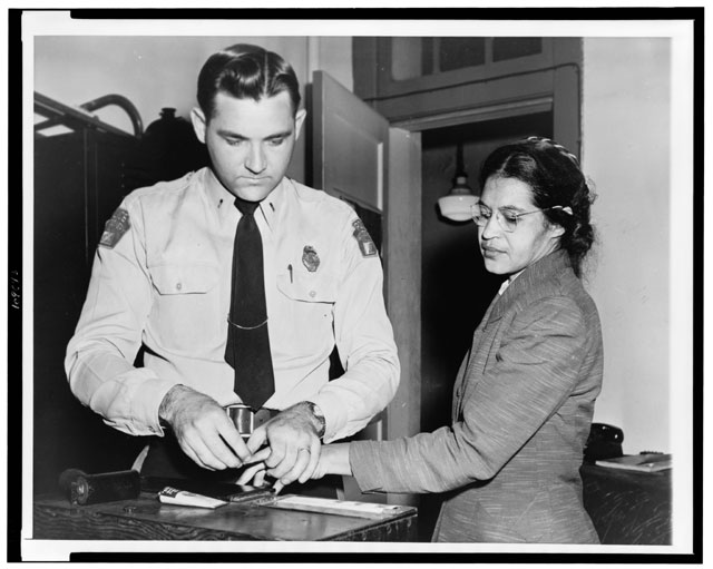 Rosa Parks being fingerprinted, Library of Congress
