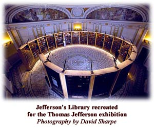 Jefferson's library recreated for the Thomas Jefferson exhibition. Photo by David Sharpe