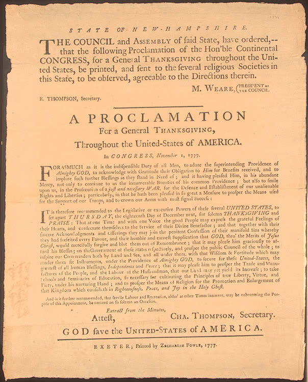 Congressional Thanksgiving Day Proclamation, November 1, 1777