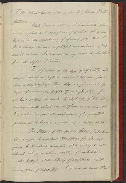 George Washingtons reply to the Newport, RI, Hebrew congregation, August 17, 1790 - Library of Congress image