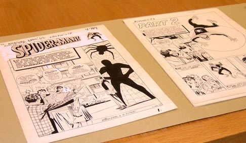 Two pages from the original artwork for the Spiderman comic.