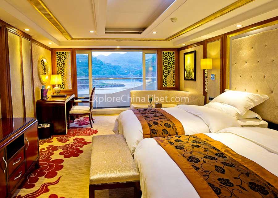Yichang to Chongqing President No.7 Cruise Deluxe Cabin with Balcony