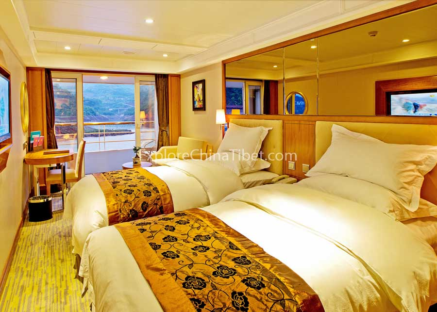 Yichang to Chongqing President No.8 Cruise Deluxe Cabin with Balcony