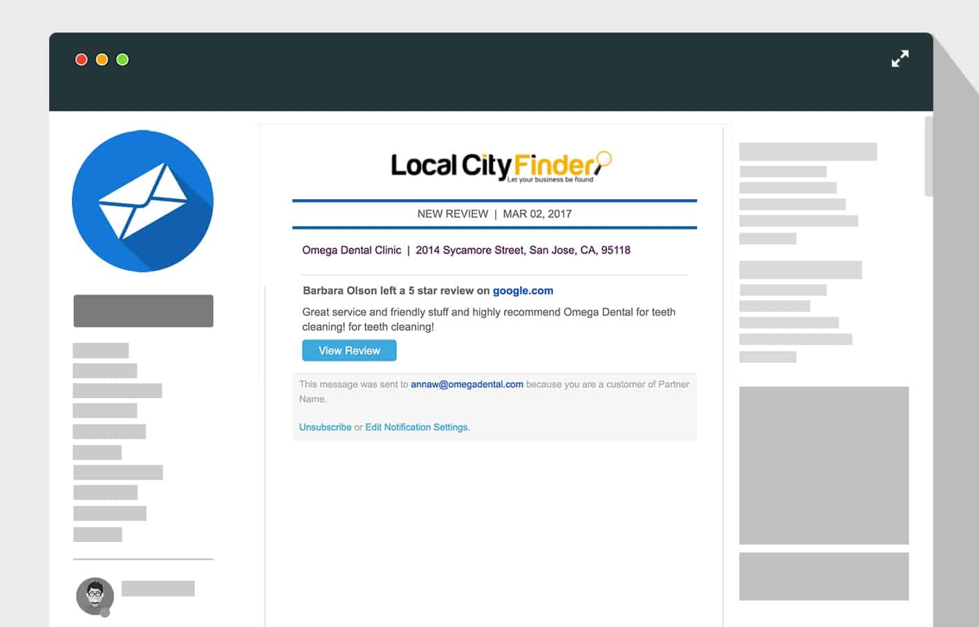 LocalCityFinder-reputation-new-review-email