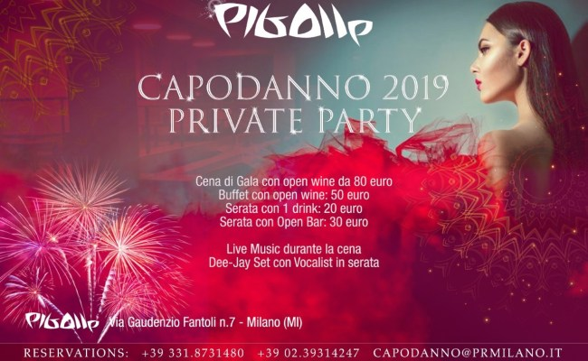 CAPODANNO PRIVATE LOFT PARTY OPEN BAR PIGALLE MILANO
