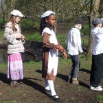 Year 3 from Summerhill acting a Victorian scene in St George's Park